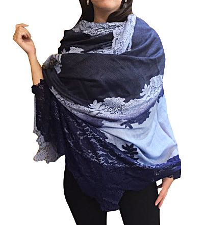 Amishi - Blue/Grey Shaded Vera Lace Scarf