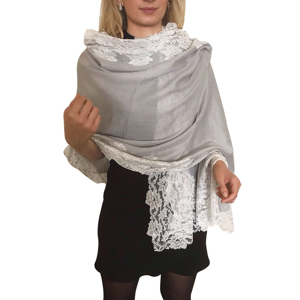 Amishi - Grey/White Lace Scarf