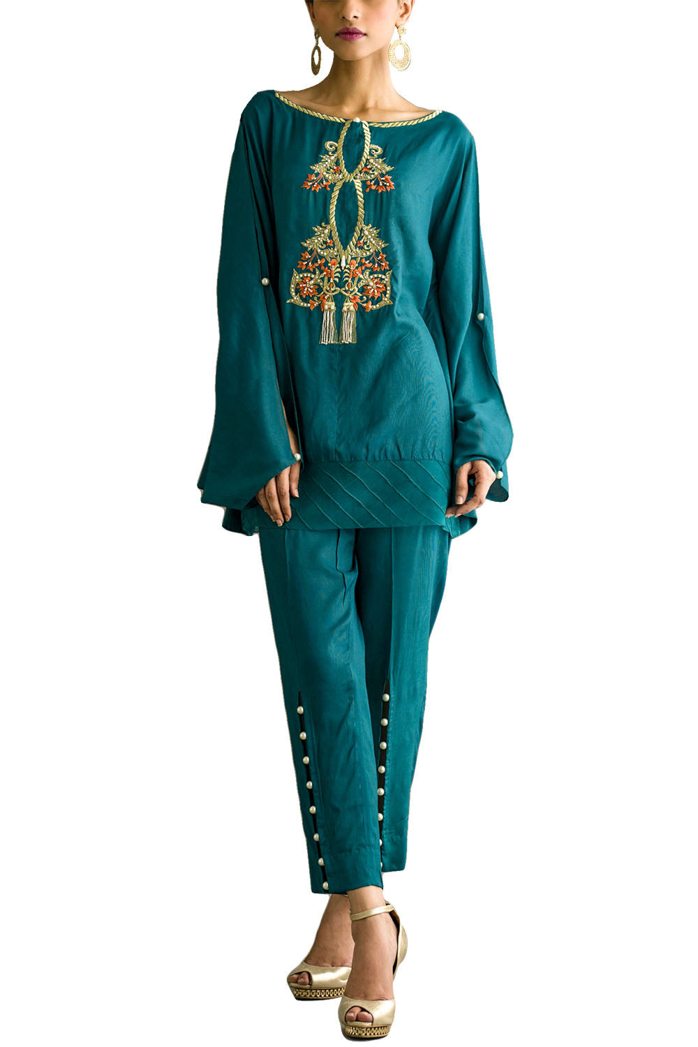 Deepak Perwani - Cotton Embroidered Silk Poncho Shirt With Silk Trouser