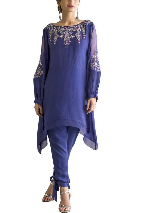 Deepak Perwani - Cotton Embroidered Silk Shirt With Silk Tie Trouser