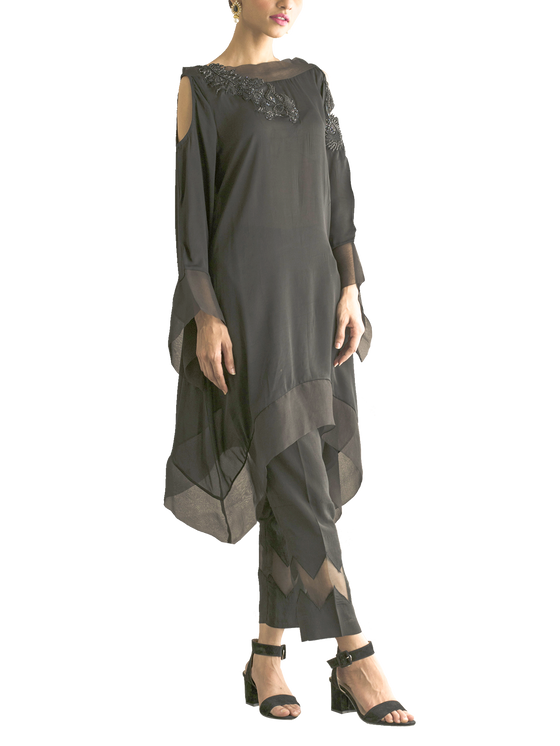 Deepak Perwani - Cotton Embroidered Silk Shirt With Silk Trouser & Organza Detail