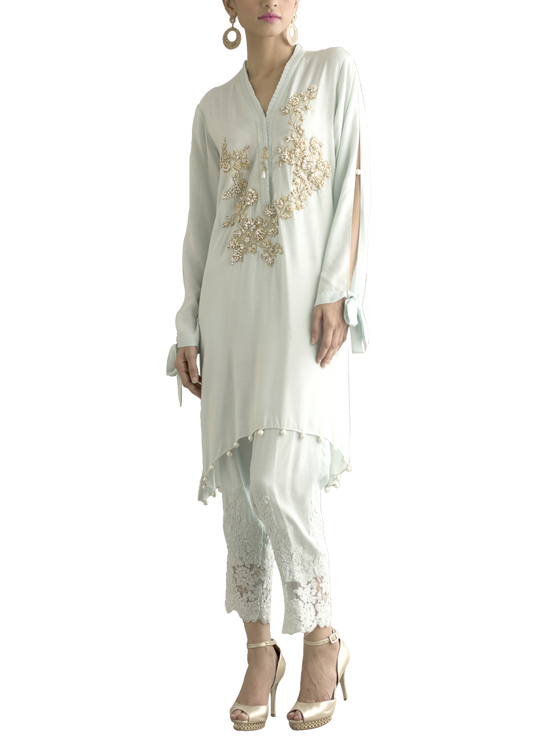 Deepak Perwani - Cotton Embroidered Silk Shirt With Silk Trouser