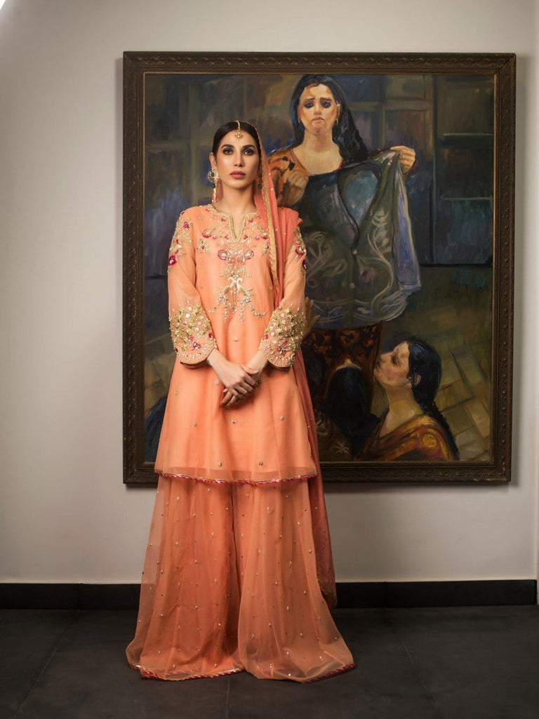 Deepak Perwani - Net Paneled Shirt and Gharara - 3 Piece