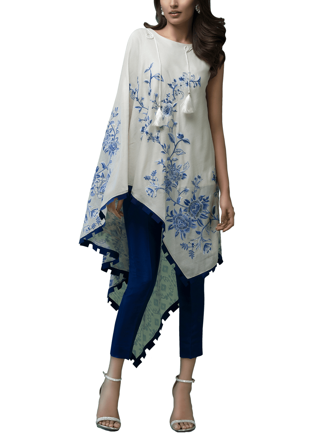 Sania Maskatiya - Cotton Net Embroidered Asymmetrical top