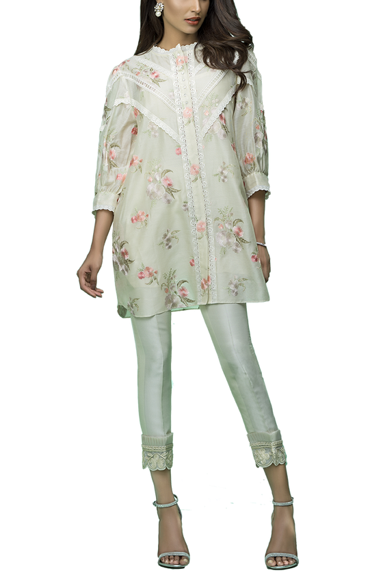 Sania Maskatiya - Cotton Net Floral Embroidered Shirt