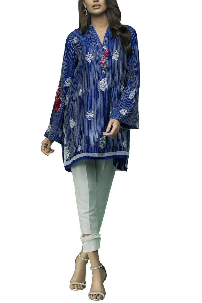 Sania Maskatiya - Raw Silk Floral Embroidered Shirt