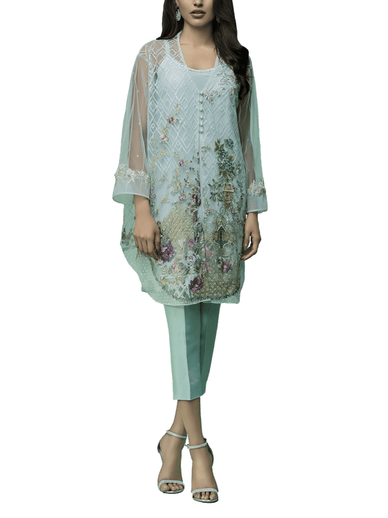 Sania Maskatiya - Front Open Indian Net Embroidered Shirt