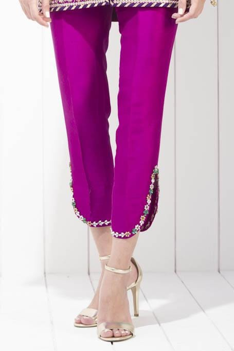 Sania Maskatiya - Raw Silk Pants With Zardoze Detailing