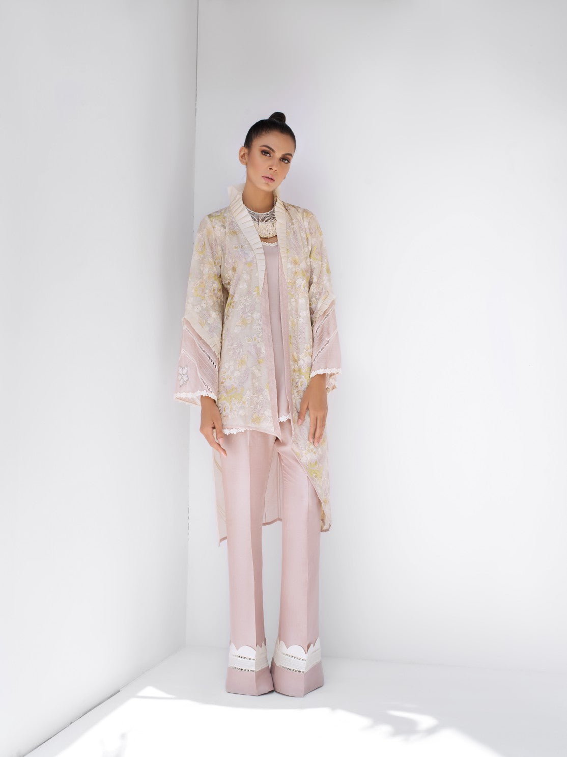 Sania Maskatiya - Cotton Net Embroidered Short Jacket