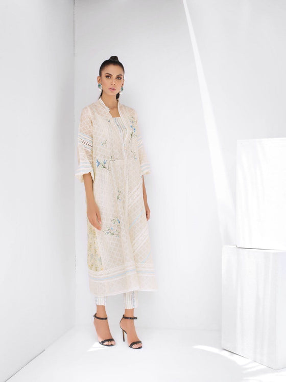 Sania Maskatiya - Cotton Net Floral Embroidered Long Front Open Jacket