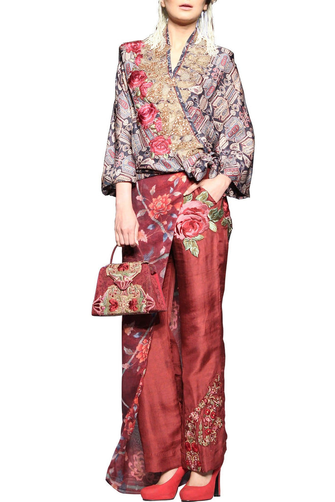 Shamaeel - Gold Embrodiery Digitally Printed Pant