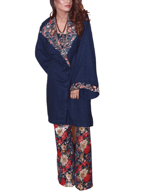 Nilofer Shahid - Embroidered Jacket With Karandi Shirt & Raw Silk Pants
