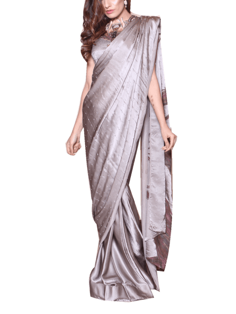Nilofer Shahid - Grey Pure Chimose Sari With Resham Embroidered Blouse