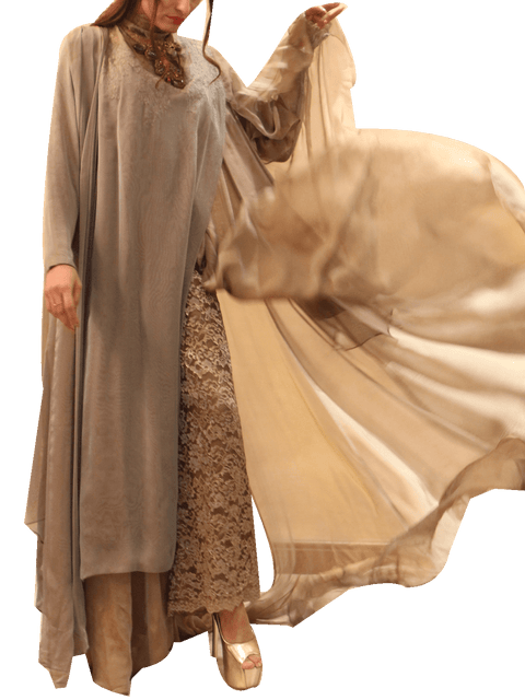 Nilofer Shahid - Fossil Draped Layered Chiffon Shirt With Pants