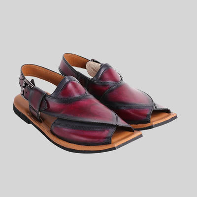 Novado - Cherry Red Darya Khan Leather Peshawari Chappal For Men