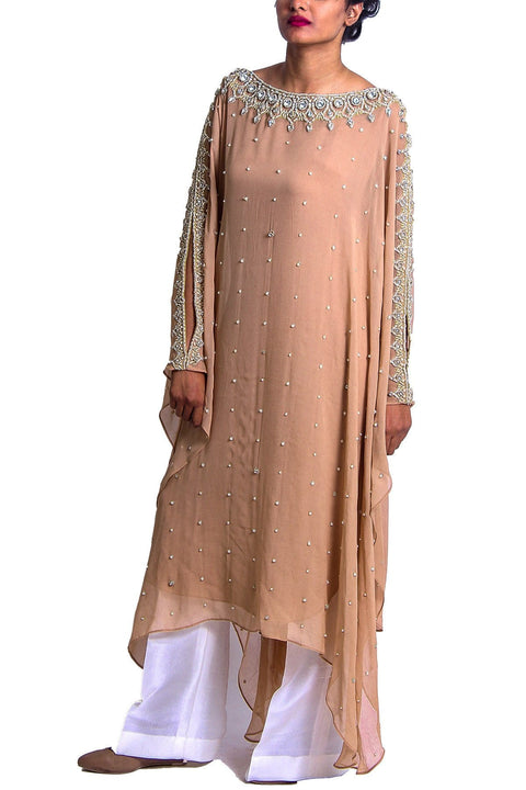 Maheen Karim - Nude Tiara Embroidered Chiffon Poncho With Slip & Trousers