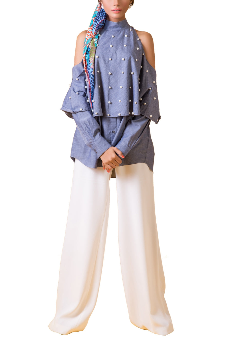Maheen Karim - Blue Denim Yolk Cotton Top with Pearl Buttons
