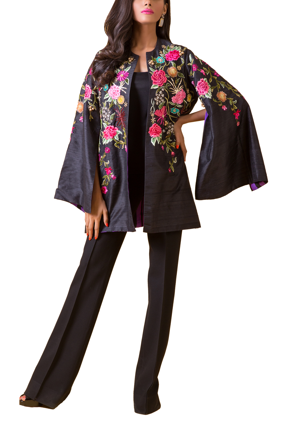 Maheen Karim - Black Raw Silk Machine Embroidered  Bugle Beaded Jacket