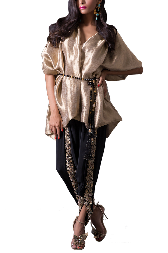 Maheen Karim - Gold Tissue & Crepe Silk Wrap With Black Dhoti Pants & Black Beaded Belt