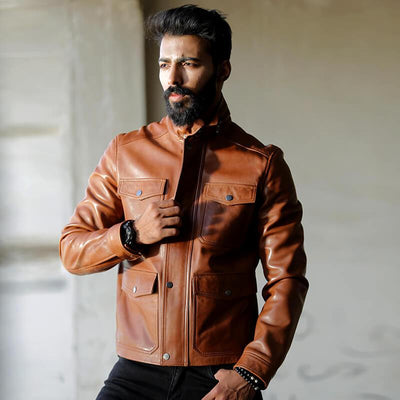 Novado - Mens Cognac Leather Jacket - NMLJ-1432