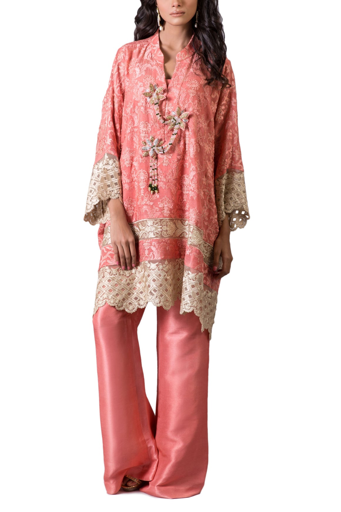 Maheen Karim - Pink Silk Net Embroidered Shirt With Pants