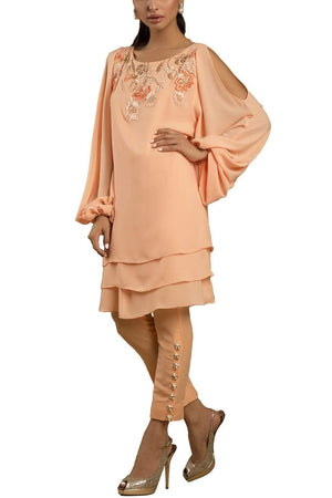 Sanam Chaudhri - Ice Peach Triple Layered Handcrafted Cold Shoulder Shirt With Silk Pants