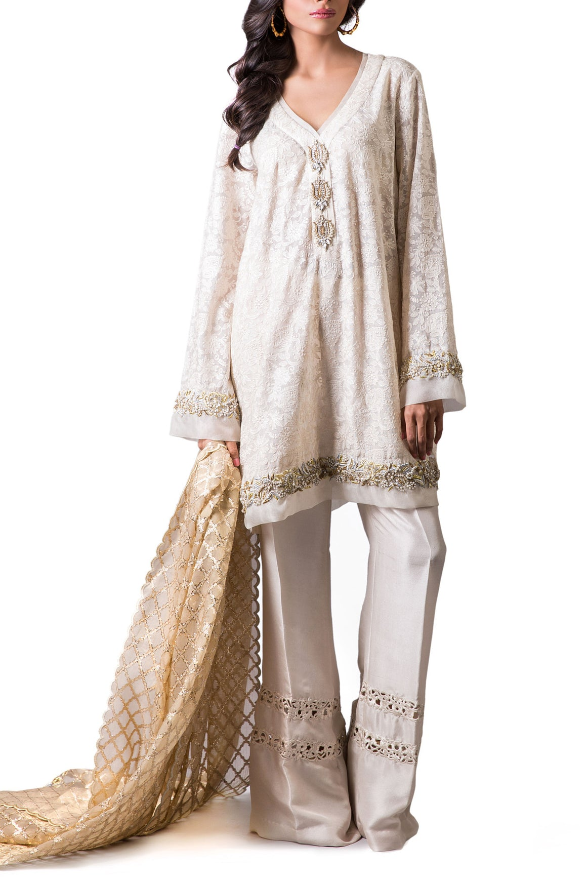 Maheen Karim - White Cotton Net Short Tunic With Dupatta & Pants