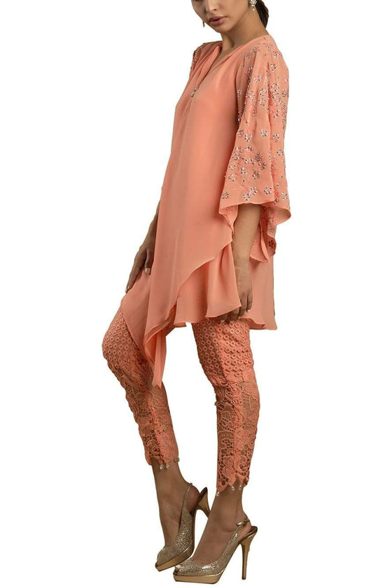 Sanam Chaudhri - Coral Umbrella Top With Handcrafted Sleeves And Crochet Pants