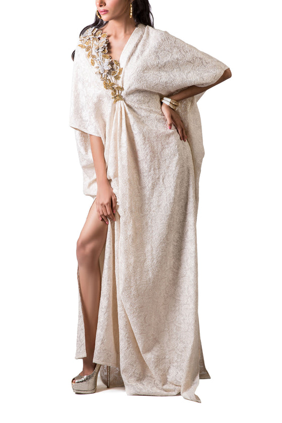 Maheen Karim - White Chicken Kari Cotton Net Kaftan Dress