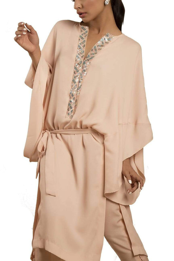 Sanam Chaudhri - Crystal Pink Handcrafted Kaftan Shirt With Silk Pants