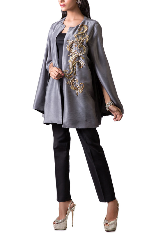 Maheen Karim - Grey Raw Silk Jacket With Black Lining