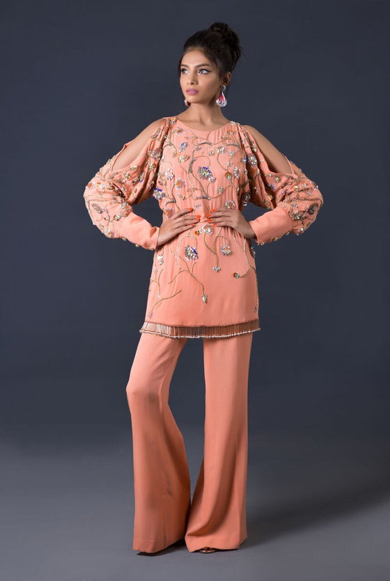 Maheen Karim - Coral Peach Peek-A-Bou Top & Trousers