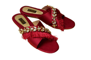 Soma - Red Cranberry Crystal Cross Hand Crafted Footwear
