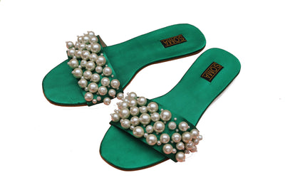 Soma - Bantas Green Hand Crafted Embellished Sandals