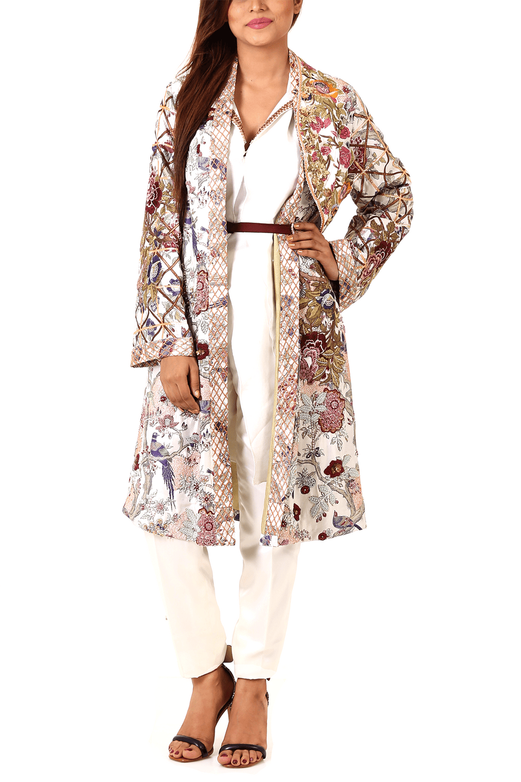 Shamaeel - Embroidered Raw Silk Jacket & Inner With Cape