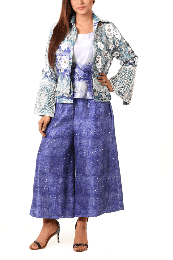 Shamaeel - Embroidered Raw Silk Jacket & Inner With Pants