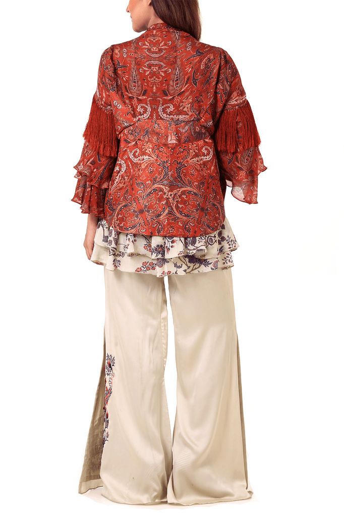 Shamaeel - Embroidery Raw Silk & Chiffon Inner & Cape With Pants