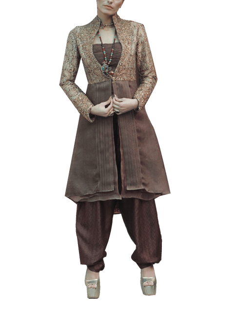 Nilofer Shahid - Kimkhab Jacket With Chiffon Bustier & Trouser