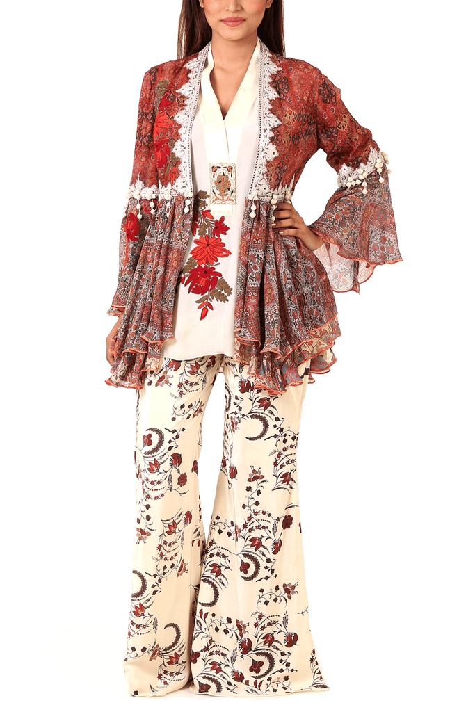 Shamaeel - Embroidered Chiffon Jacket & Inner With Pants