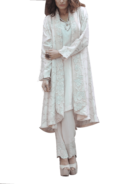 Nilofer Shahid - Pink Net Karandi Jacket With Inner & Trouser