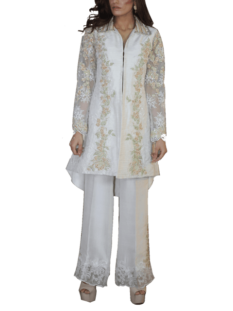 Nilofer Shahid - Marshmallow Raw Silk Pleated Jacket With Raw Silk Trouser