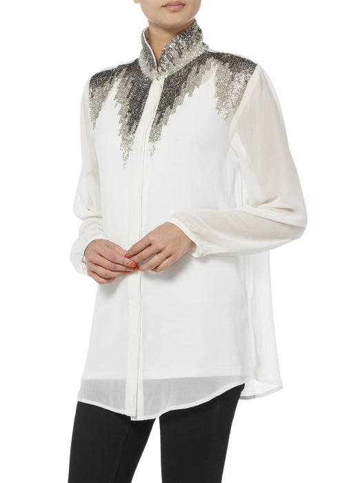 Raishma - White Embellished Detailed Shirt