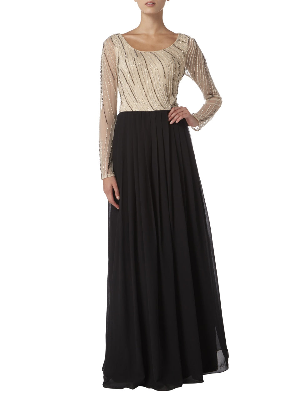 Raishma - Cream & Black Embellished Top Maxi Dress