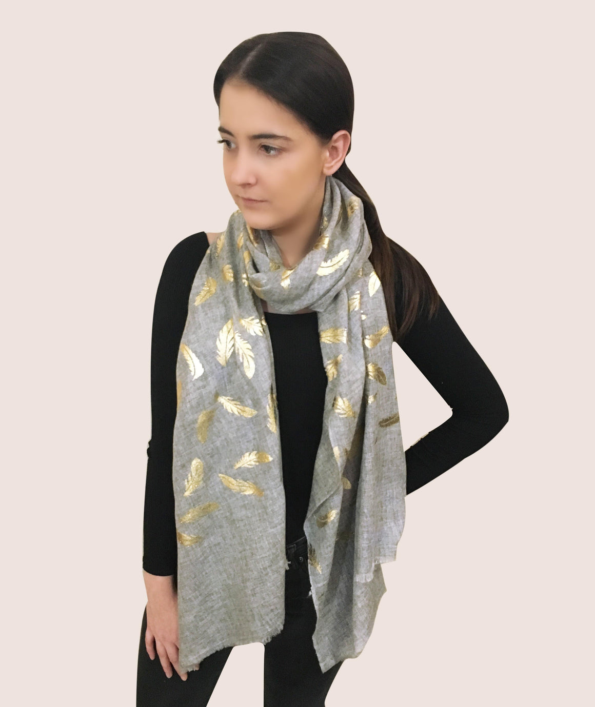 Amishi - Light Grey & Metallic Metallic Scarf