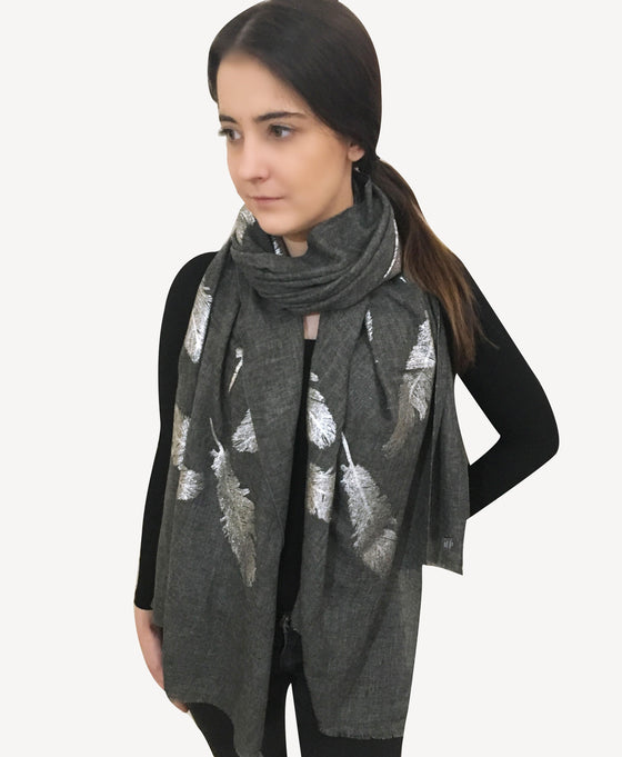 Amishi - Dark Grey & Metallic Metallic Scarf