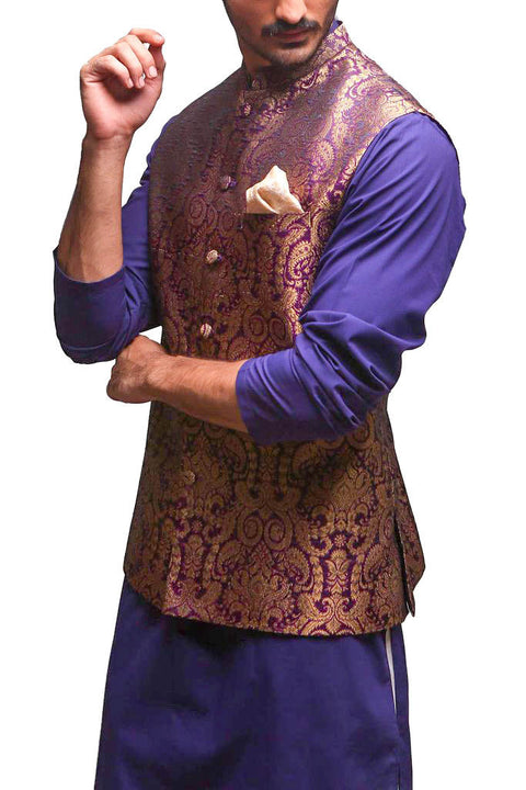 Deepak Perwani - Blue Cotton Suit With Waist Coat