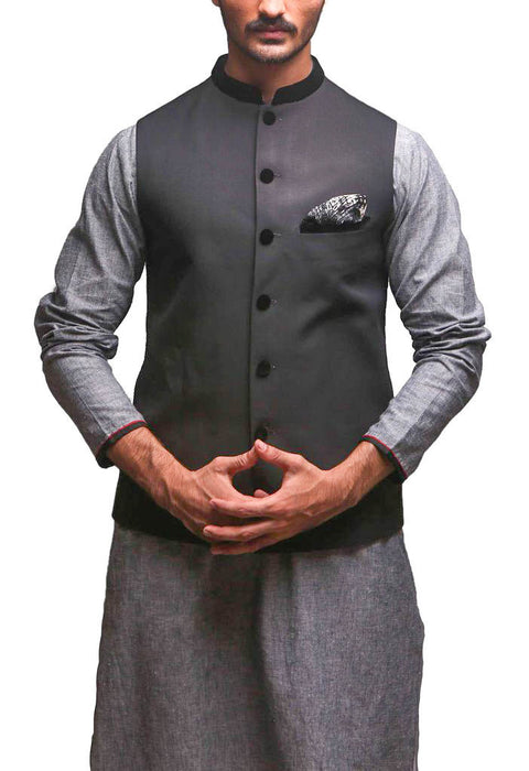 Deepak Perwani - Black Raw Silk Waist Coat