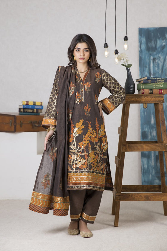 Bonanza Satrangi - BROWN BLACK SWAN - 3 PC