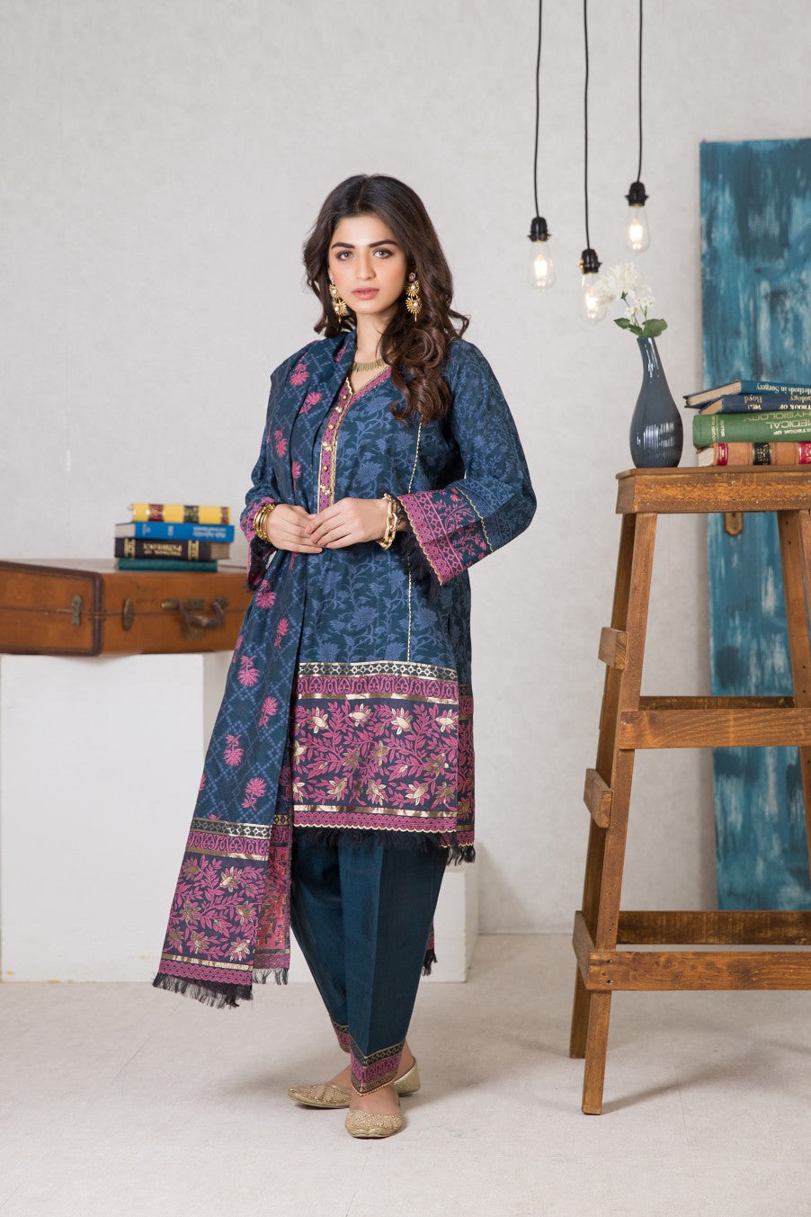 Bonanza Satrangi - NAVY WINTER MYSTIC - 3 PC