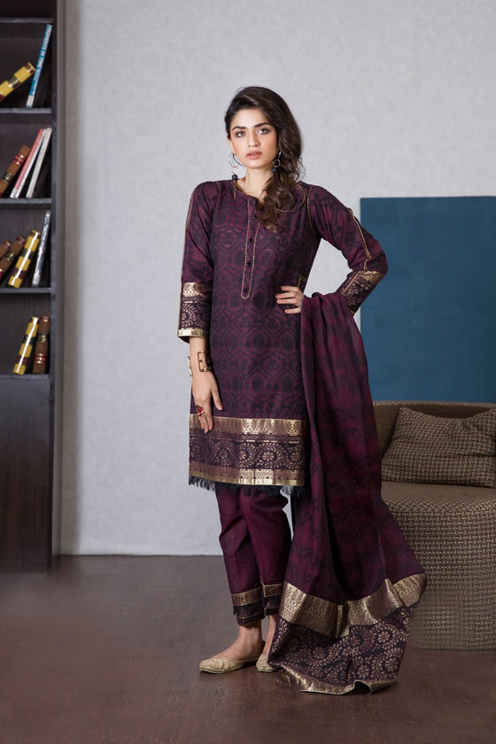 Bonanza Satrangi - MAROON PALACE PURPLE - 3PC